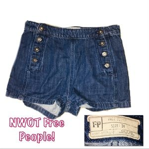 • FREE PEOPLE | NWOT | High Waisted Denim Shorts•